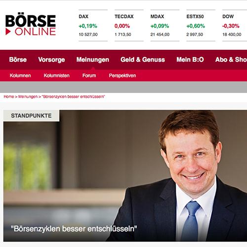 """<small><em>28. August 2016: Börse-Online</em></small><br/>""""Börsenzyklen besser entschlüsseln"""" –  Perspektiven von Hartmut Jaensch"""